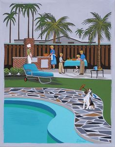 Mid Century Modern Eames Retro Limited Edition Print from Original Painting Patio Barbecue Beagle from etsy, shop LTillmanArt