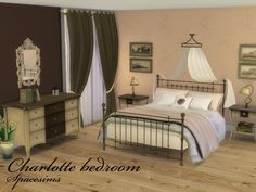 This is a large, welcoming traditional master bedroom with elegant furniture. This bedroom is a perfect choice for adult Sims but the provided color variations make this bedroom just as inviting...