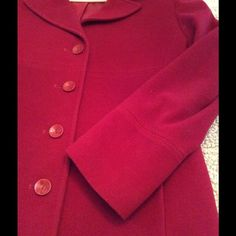 "SALE  ‼️ Red Wool Coat Lovely Red Coat. It is simple with great seam detailing. Button Closure & Pockets. Fully lined (100% polyester) & Wool Blend Exterior ( 80% Wool / 20% Nylon) coat is in very good pre-loved condition, it does have slight signs of wear, nothing specific, no holes or rips etc etc just slight signs. Measurements : Total Length is 37"". / Armpit to Armpit 23"" Larry Levine Jackets & Coats"