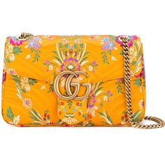 "Gucci ""Marmont"" Leather Bag ($1,690) ❤ liked on Polyvore featuring bags, handbags, shoulder bags, yellow, orange leather handbag, leather purses, genuine leather handbags, chain shoulder bag and orange handbags"