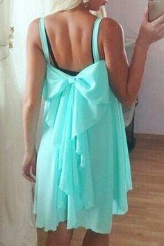 Spaghetti Strap Backless Bowknot Sleeveless Dress