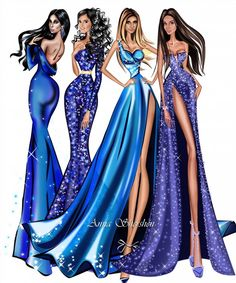 🌻✿ ❀ ❁✿ For more great pins go to Illustration Mode, Fashion Illustration Sketches, Fashion Sketches, Fashion Art, Girl Fashion, Fashion Outfits, Womens Fashion, Blue Fashion, Croquis Fashion