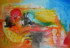 Paixao Pintura de joao timane Artista jovem mocambicano Watercolor Aguarela sobre cartolina