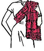 Scottish Highland Sash #2 - ChieftainessWearing a sash - style 2  The wife of a clan chief or the wife of a Colonel of a Scottish Regiment would wear a slightly wider sash over the left shoulder and secured with a brooch on the left shoulder.