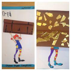 Groep 1 taak: schatkist vouwen en goudstukken erin scheuren. Pippi kleuren met stift.