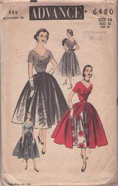 MOMSPatterns Vintage Sewing Patterns - Advance 6480 Vintage 50's Sewing Pattern AMAZING Rockabilly Lucy Cocktail Party TURNABOUT Dress, Switch Overskirt from Front to Back INCOMPLETE Vintage Dress Patterns, Clothing Patterns, Vintage Dresses, Nice Dresses, Vintage Outfits, 1950s Fashion, Vintage Fashion, Retro Pattern, Pattern Sewing