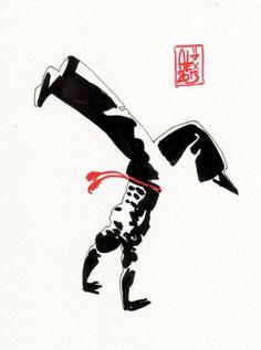 Encres : Capoeira – 397 [ #capoeira #watercolor #illustration]