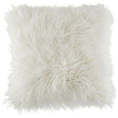 "BCBGeneration Faux-Fur Mongolian 18"" Square Decorative Pillow ($70) ❤ liked on Polyvore featuring home, home decor, throw pillows, cream, modern home accessories, cream throw pillows, beige throw pillows, modern throw pillows and faux fur throw pillow"