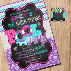WINTER POOL PARTY  invitation  You Print by PrettyPartyCreations