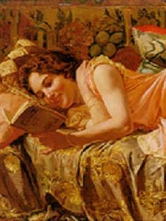 """A Captivating Novel"" or ""The Novel"" (detail) (1954).  Fabio Cipolla (1854-1924 or 1935), Italian painter."