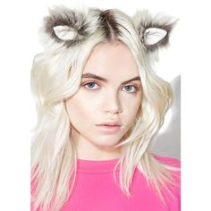 KritterKlips Arctic Wolf Clip In Ears ($28) ❤ liked on Polyvore featuring accessories, hair accessories, barrette hair clips, metal hair accessories, metal hair clips, long hair clips and hair clip accessories
