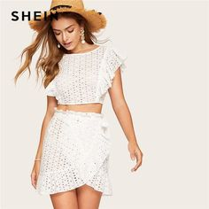 White Lace Eyelet Ruffle Backless Knot Crop Top and Wrap Belted Mini Skirt Set Women Summer Fitted Boho Sexy Two Piece Set White Lace Crop Top, Lace Crop Tops, Two Piece Outfit, Two Piece Skirt Set, Blouse Models, Skirt Belt, Lace Ruffle, Top Knot, Types Of Sleeves