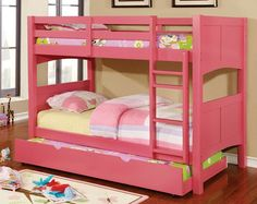 Prismo Ii Collection Pink Finish Wood Twin Over Twin Bunk Bed With