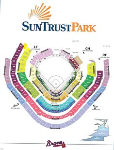Map of SunTrust Park seating chart and gate entrances. The new Atlanta Braves stadium in Cobb County will host concerts and baseball games. Baseball Playoffs, Braves Baseball, Baseball Tips, Baseball Uniforms, Softball, Baseball Cards, Atlanta Braves Stadium, Play Baseball Games, Braves Game