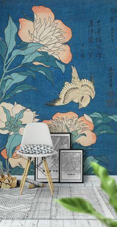 Japan Bird Blue wall mural from Happywall Room Wallpaper, Flower Wallpaper, Asian Wallpaper, Bedroom Murals, Wall Murals, Kids Bedroom, Japanese Inspired Bedroom, Japanese Bedroom Decor, Japanese Interior