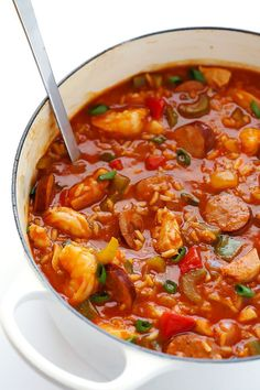 Make your Jambalaya Soup with shrimp, chicken, Andouille sausage - or with all three! A rich vegetable stew for cold days. Contains shellfishes and/or meat. Cajun Recipes, Healthy Soup Recipes, Crockpot Recipes, Cooking Recipes, Sausage Crockpot, Sausage Soup, Creole Recipes, Chicken Sausage, Healthy Recipes