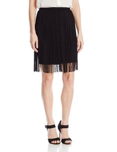 Vince Camuto Women's Mini Skirt with Fringe Overlay, Rich Black, X-Large
