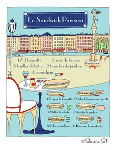 La recette illustrée du sandwich parisien--AWESOME website for recipes in French