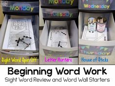 Great for kinder or first You use your own words so the activities can be used all year for your spelling and sight words