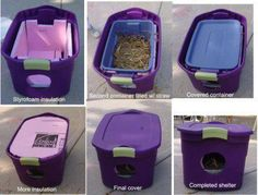 It's getting cold out . . . If you are feeding stray cats, consider making them one of these! (Added suggestion is to possibly weigh the houses down with a cinder block & be sure to face way from winters grizzly winds.)    source:  Finger Lakes SPCA, Inc.