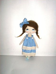 cloth doll rag doll gift for girl white blue by MyDollyishere, $79.00