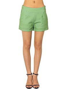 iB-iP Womens Shining Low Rise Straight Shorts, Size: L, Apple Green * Check out the image by visiting the link.