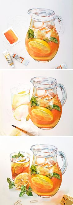 Watercolor step by step tutorial on how to paint glass pitcher with ice tea - detailed commercial food illustration by Kateryna Savchenko. Highlights reserved with masking fluid. Watercolor Food, Watercolor Illustration, How To Watercolor, Tea Illustration, Watercolor Painting, Watercolors, Food Drawing, Ice Drawing, Food Painting