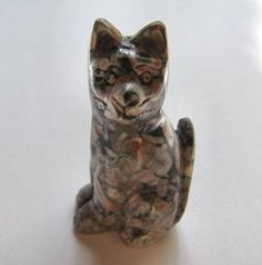 Fossil Jasper Carved Cat - 2 inches tall
