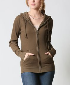 42POPS Olive Thermal Zip-Up Hoodie | zulily -  $16.99 $45.00 size: size chart	  M L Product Description:  This chilly-weather basic features two pockets to keep hands warm and store essentials. Thermal fabric delivers all-day comfort.      54% cotton / 44% polyester / 2% spandex     Hand wash     Imported