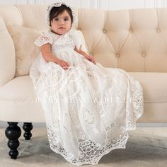 Baby Girl Gown - Grace Collection - Designer Newborn Outfits