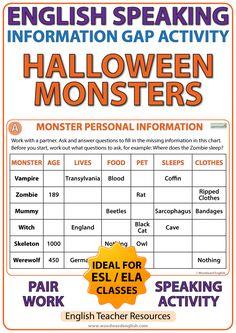 English Information Gap Activity – Halloween Monsters – #ESL Pair Work - Teacher Resource