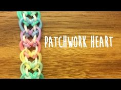 Rainbow Loom Patchwork Heart Tutorial 2 Pegs No Hook Rainbow Loom Bracelets Easy, Loom Band Bracelets, Rainbow Loom Tutorials, Rainbow Loom Patterns, Rainbow Loom Creations, Rainbow Loom Bands, Rainbow Loom Charms, Rubber Band Bracelet, Heart Bracelet