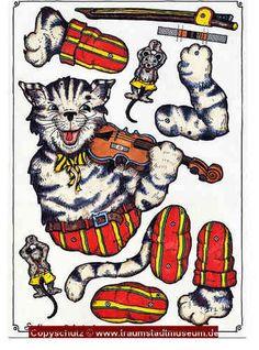 Lustige Katze mit Geige Hampelmann Ziehfigur Bastelbogen mit Klammern und Schnur