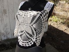 Vintage lace doily handmade ooak crochet lace top by SummersBreeze