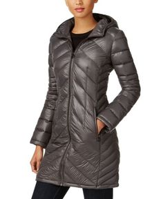Michael Kors Womens Petite Chevron-Quilted Packable Down Coat 267a909487f40
