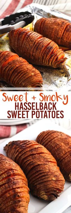 Sweet and Smoky Hasselback Sweet Potatoes make a delicious, healthy side dish. The deep slices yield potato strips similar to thin steak fries with crisper exteriors and soft middles. This smoky seasoning is the best!