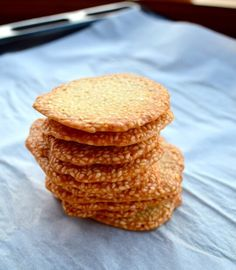 Sweet sesame crisps - very authentic! My grandma tried the ones I made from this recipe and said they were comparable to we used to buy in China. I would suggest spreading the batter thin using a spoon instead of piping it, as this recipe suggests.
