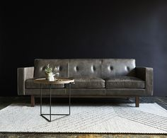 The Embassy Sofa conveys a classic, mid-century style with tailored proportions and refined details. It features a button-tufted, tight back design with piping detail. Best Leather Sofa, Black Leather Sofas, Modern Leather Sofa, Modern Furniture, Furniture Design, Sofa Design, City Furniture, Pallet Furniture, Modern Decor