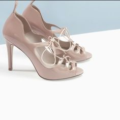 43ee6b84379f Zara nude heels Cute Zara nude 4 inch heels with laces. Size 40 which is a  9 in Zara cut more like an 🚫no trades 🚫no questions from non serious  buyers ...