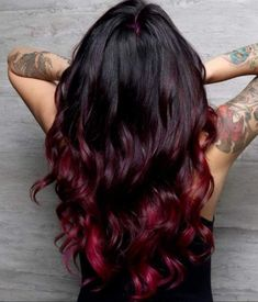 71 most popular ideas for blonde ombre hair color - Hairstyles Trends Black Hair Ombre, Hair Color Dark, Ombre Hair Color, Cool Hair Color, Black And Burgundy Hair, Magenta Hair Colors, Dark Red, Natural Dark Hair, Red Hair