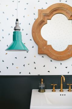 Time for ! We love Sophie SoHo Pendant in this eclectic bathroom! Rustic Wall Sconces, Bathroom Wall Sconces, Barn Lighting, Home Lighting, Pendant Lighting, Bathroom Inspiration, Home Decor Inspiration, Bathroom Ideas, Verona