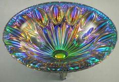 LGW Carnival Glass Peacock Bowl Iridescent Bavaria Leinauer Glaswaren