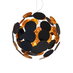 A statement light and art installation all in one; Planet is simply, an utterly striking ceiling light, bringing life and flair to any interior. Each disc is individually suspended with a dramatic black exterior and light reflecting gold effect interior.