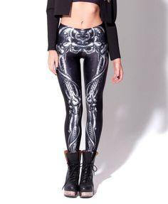 Mechanical Bones Black Leggings digital print skull leggings plus size  Only $19.99 => Save up to 60% and Free Shipping => Order Now!  #print leggings outfit #dress #Fashion #girl #Digital #sport #yoga