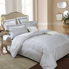 Unmistakably elegant and opulence is the charlotte duvet cover set with its gorgeous vintage framework lace overlay pattern. This soft, easy to care for duvet cover, has a beautiful overlay design that will complement any bedroom's décor in your home. This modern design 300 thread count 3 piece embroidered duvet cover set is made with the highest quality 100% premium cotton at an outstanding value. $84