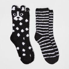 Xhilaration Women's 2-Pack Cozy Crew Dog Socks - Xhilaration - Black One Size  #ad