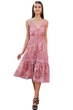 1b355138d5a Long Laced Backless V-Neck Summer Dress Sunday Dress