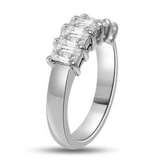 1.44 Ct 5 Stone Emerald Cut Diamond Wedding Ring Platinum - 1.44, Diamond, Emerald, Platinum, Ring, Stone, Wedding