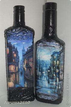 Декор предметов Декупаж две в одном   Бутылки стеклянные фото 2