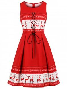 Christmas Vintage Elk Print Lace Up Flare Dress 967bbe171e4b